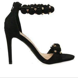 Shoes - ➰ Black Bauble Jewel Pom Pom heels ➰